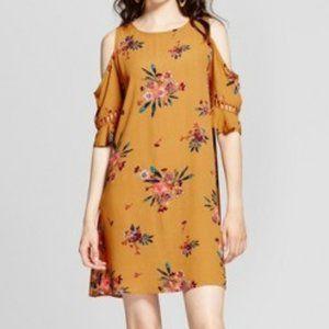 Lattice-Trim Cold Shoulder Floral Print Dress